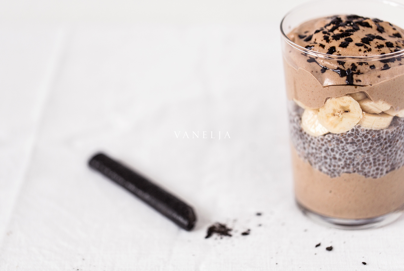Licorice chocolate smoothie parfait
