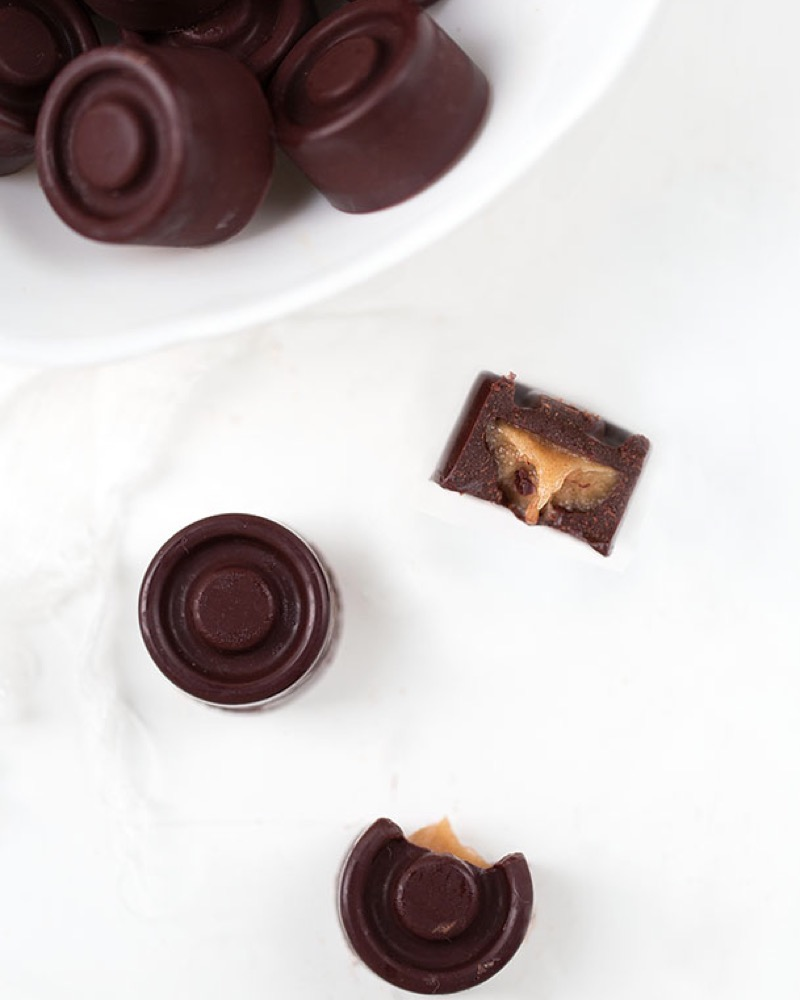 Chocolate candy with soft caramel center