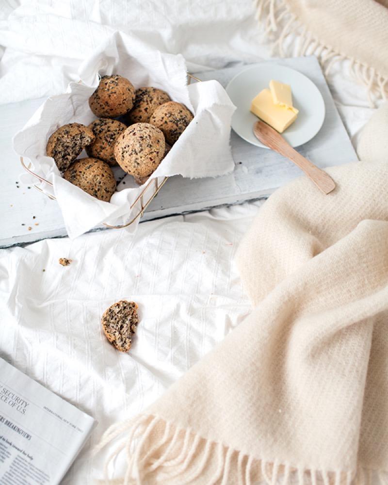 Hemp seed bread rolls