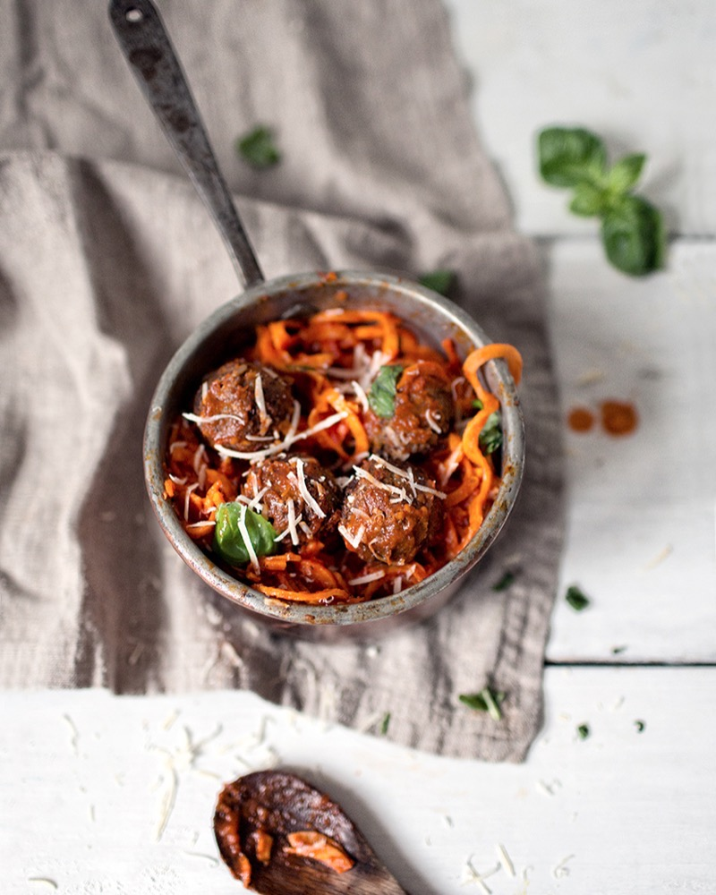 Vegan meatballs and Sweet potato pasta